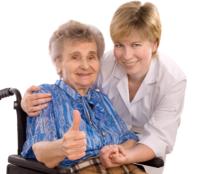 caregiver and elderly female